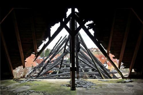 Dachstuhl des Werkstattgebäudes